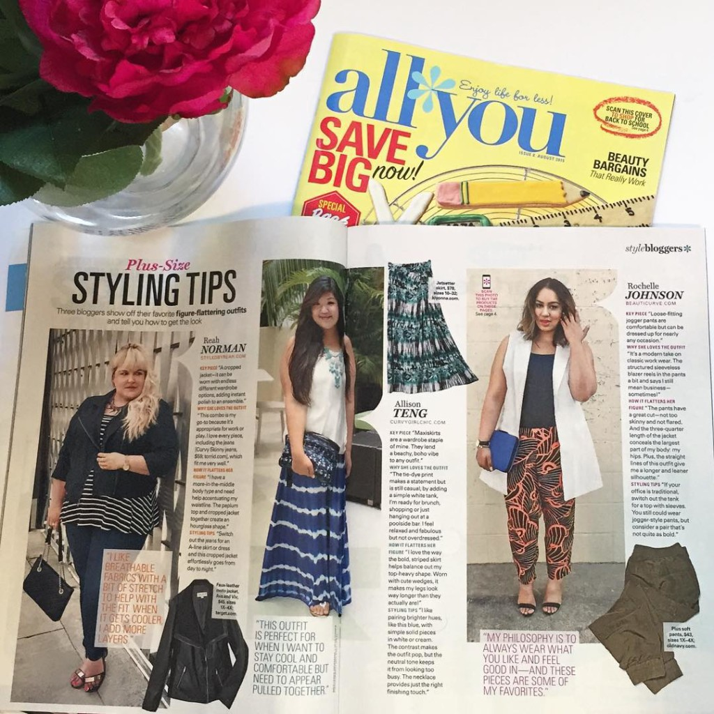 Hey it's me in this month's issue of @allyoumag alongside my Cali girls @styledbyreah @curvygirlchic #caligirlsrepresent #allyoumag #beauticurve