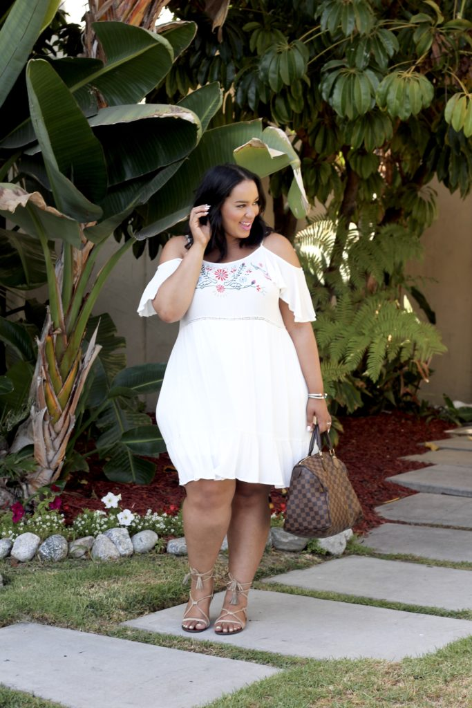White summer dress, off the shoulder dress, ross dress for less, plus size fashion, plus size blogger