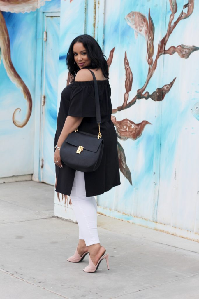 Black off the shoulder top, date night look, white jeans, nordstroms, chloe bag plus size blogger